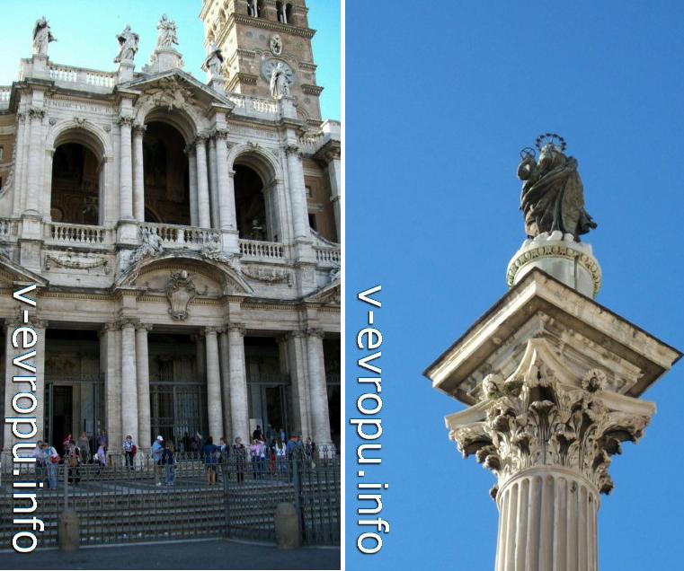 Санта Мария Маджоре в Риме (слева),  колонна со статуей Девы Марии на площади перед базиликой (справа)