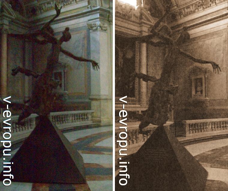 Современная скульптура ангела у входа в базилику Санта Мария дельи Анджели э деи Мартири на площади Республики в Риме