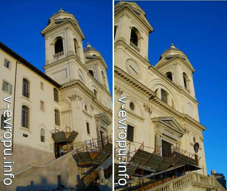 Фасад  церкови Тринита-деи-Монти на вершине Испанской Лестницы в Риме