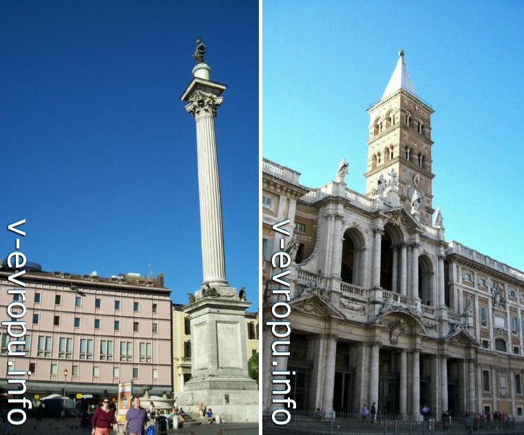 Благодарственная колонна на пьяцца Санта Мария Маджоре (слева) и   фасад Santa Maria Maggiore
