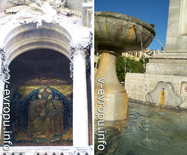 Мозаика 13 века на фасаде базилики Санта Мария Маджоре