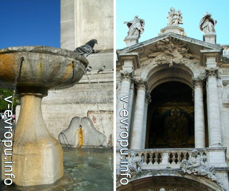 Фонтан на площади Санта Мария Маджоре (слева) и арка второго этажа ордерного фасада (справа)