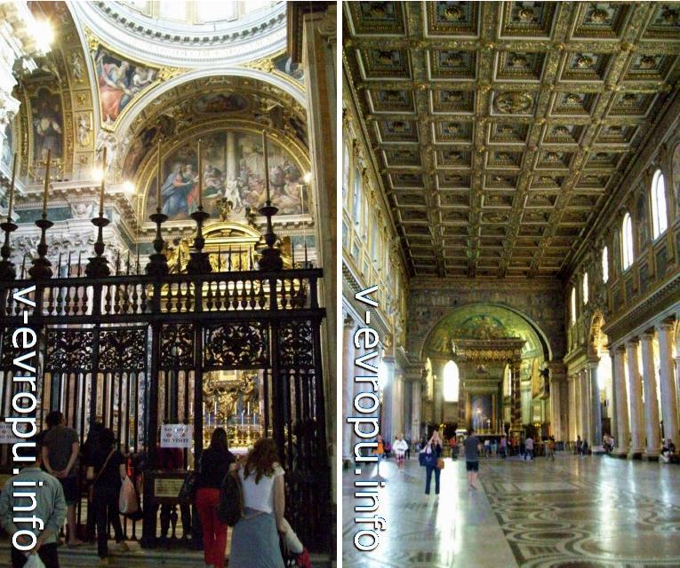 Базилика Санта Мария Маджоре в Риме. Слева Паолинская Капелла, справа центральный неф церкви