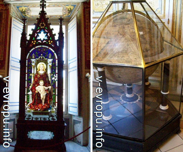 Готический витраж с изображением Девы Марии (слева) и глобус (справа) - экспонаты ватиканского музея