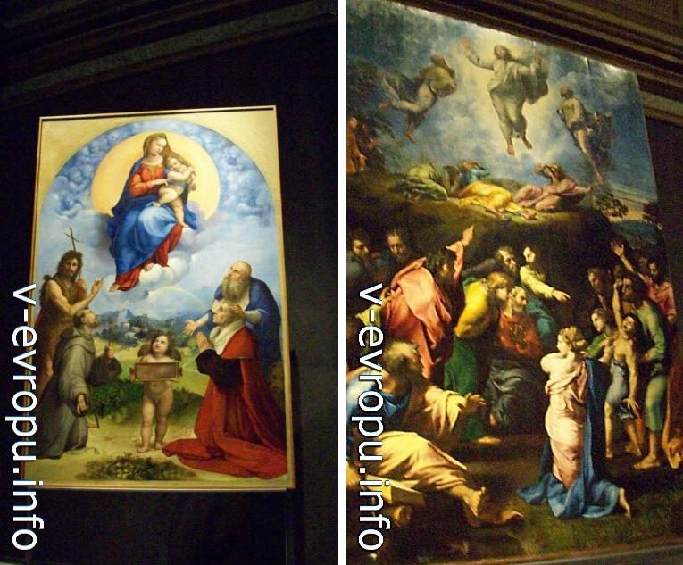 Ватиканская Пинакотека. Рафаэль. Слева - Мадонна ди Фолиньо, справа - Преображение Христа