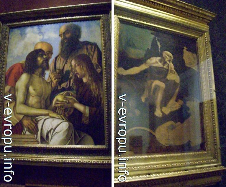 "Пинакотека Ватикана. Справа картина Леонардо да Винчи ""Святой Иероним"", 1480г. Слева картина Джованни Беллини ""Оплакивание Христа Св. Иосифом Аримафейским, Св Никодимом и Марией Магдалиной"""
