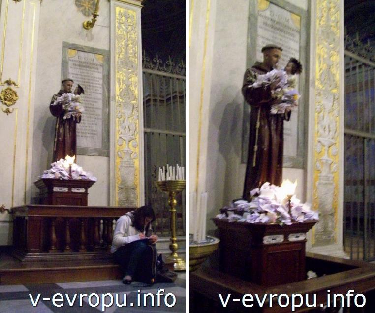 Рим.  Статуя Святого Антония из Падуи в Церкви Санта Мария ин Трастевере