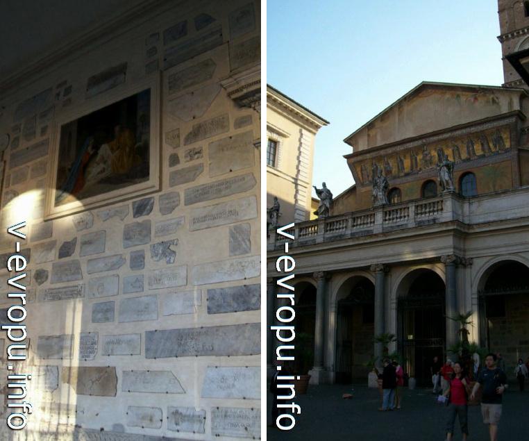 Рим. Фреска и фрагменты старой церкви при входе в Санта Мария ин Трастевре (слева) и фасад церкви Санта Мария ин Трастевере 12-18 вв (справа)