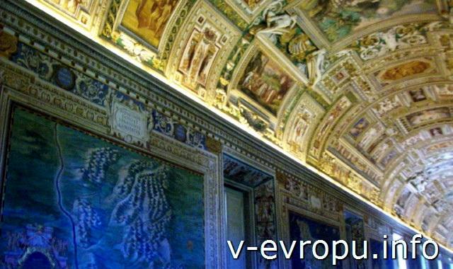 Кессонный потолок Галереи географических карт в Музее Ватикана