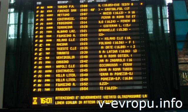 Рим. Жд вокзал Термини: преимущества. БОльшое электронное табло отправления поездов