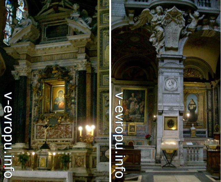 """Слева: Икона """"Мадонна дель Пополо"""" в главном алтаре церкви. По легенде ее написал сам Евангелист Лука"""