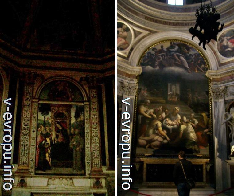 Справа: алтарь капеллы Киджи, украшенной картиной  Себастьяно дель Пьомбо