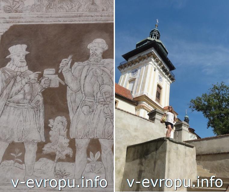 Фреска из замка Брандис (слева) и городок Стара Болеславе