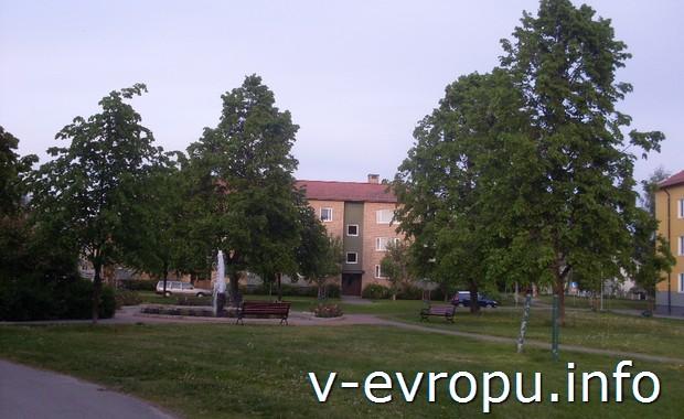 Фонтаны во дворах Умео (Швеция)