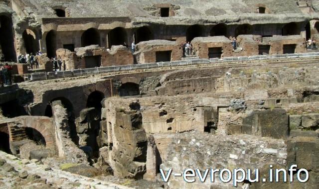 Подвальный этаж Колизея, где содержались те, кто потом выходил на арену