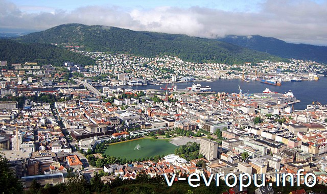 Вид с горы в Бергене. Норвегия