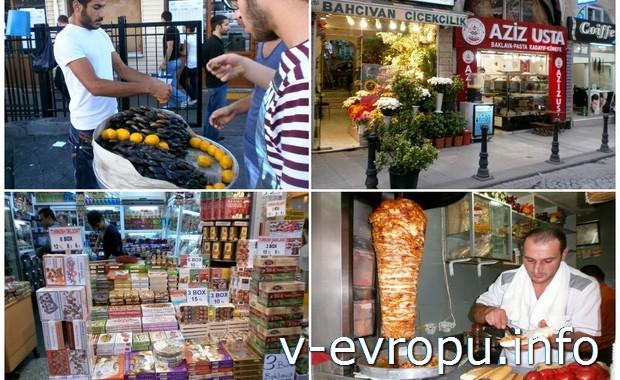 Уличные торговцы и шаурма в Стамбуле
