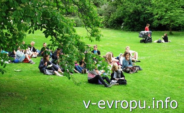 Школьники в ботаническом саду Копенгагена