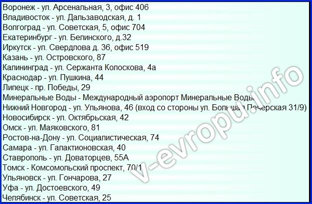 Адреса визовых центров Италии в России