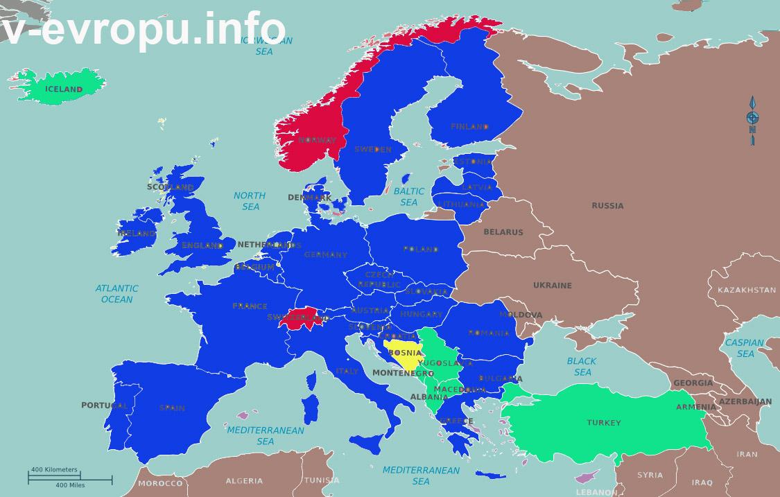 Карта стран Европейского Союза