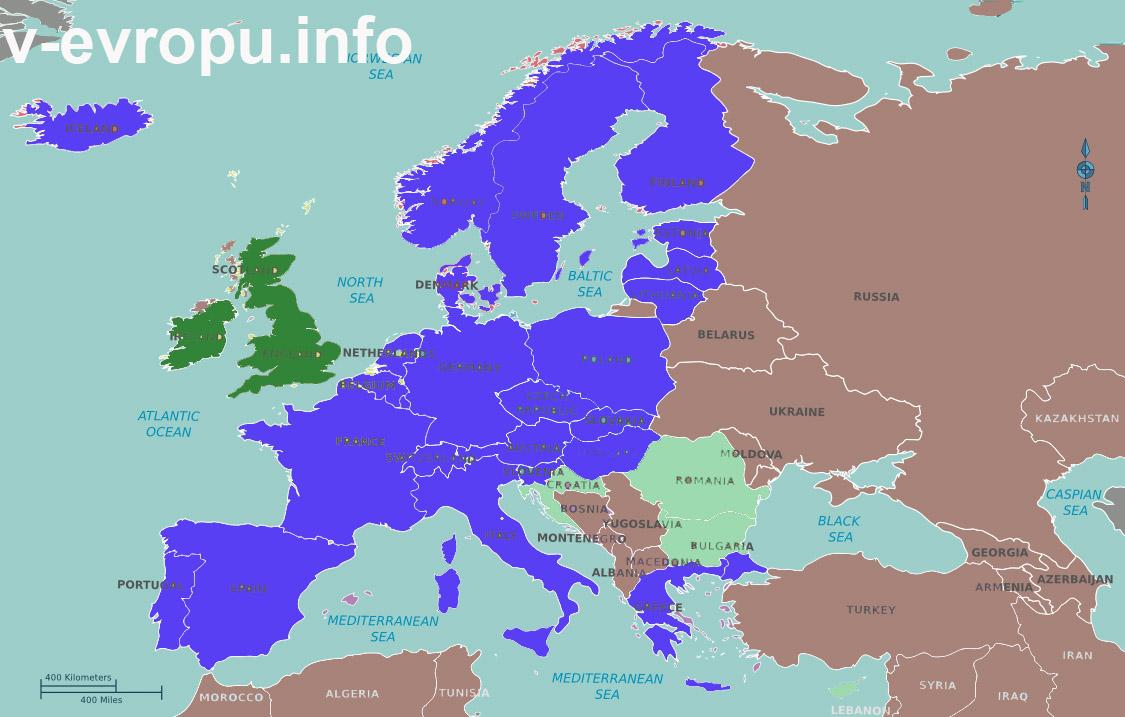 Карта стран Шенгенского Соглашения