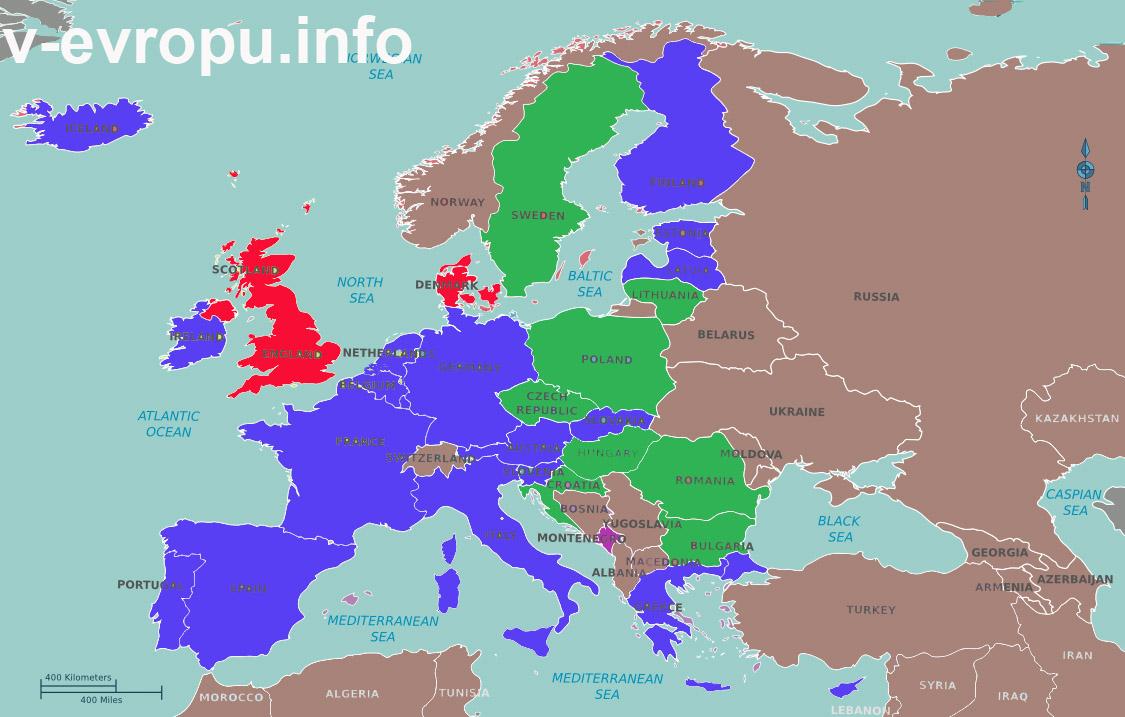 Карта стран, использующих евро-валюту