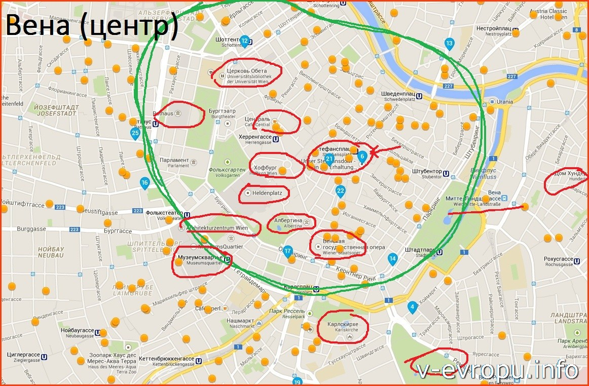 Карта гостиниц в центре Вены