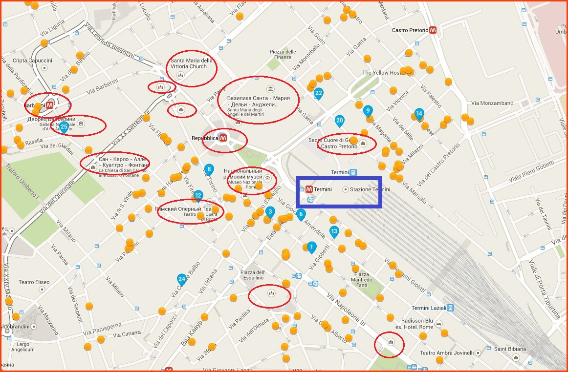 Карта отелей в районе Термини - жд вокзала Рима