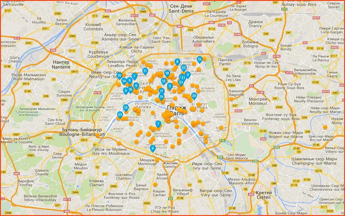 Карта Парижа и окрестностей