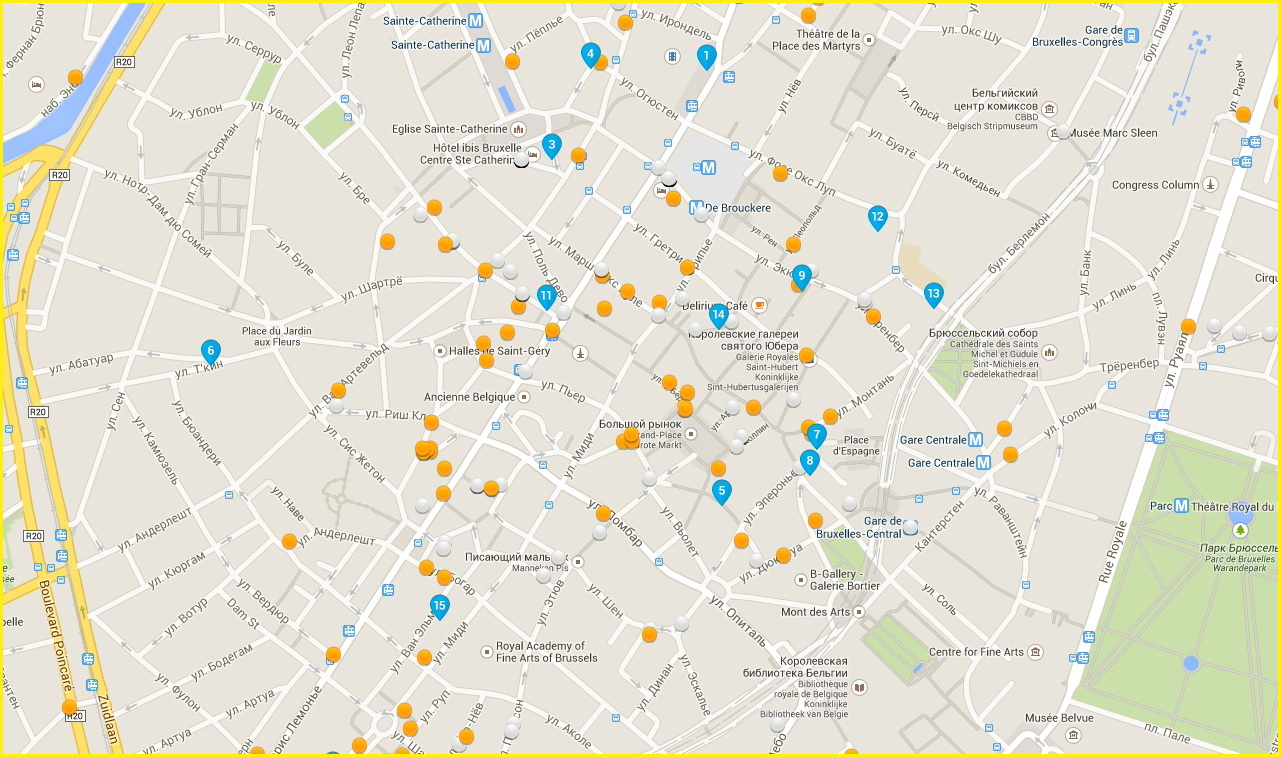 Карта гостиниц Брюсселя в районе Гранд Плейс