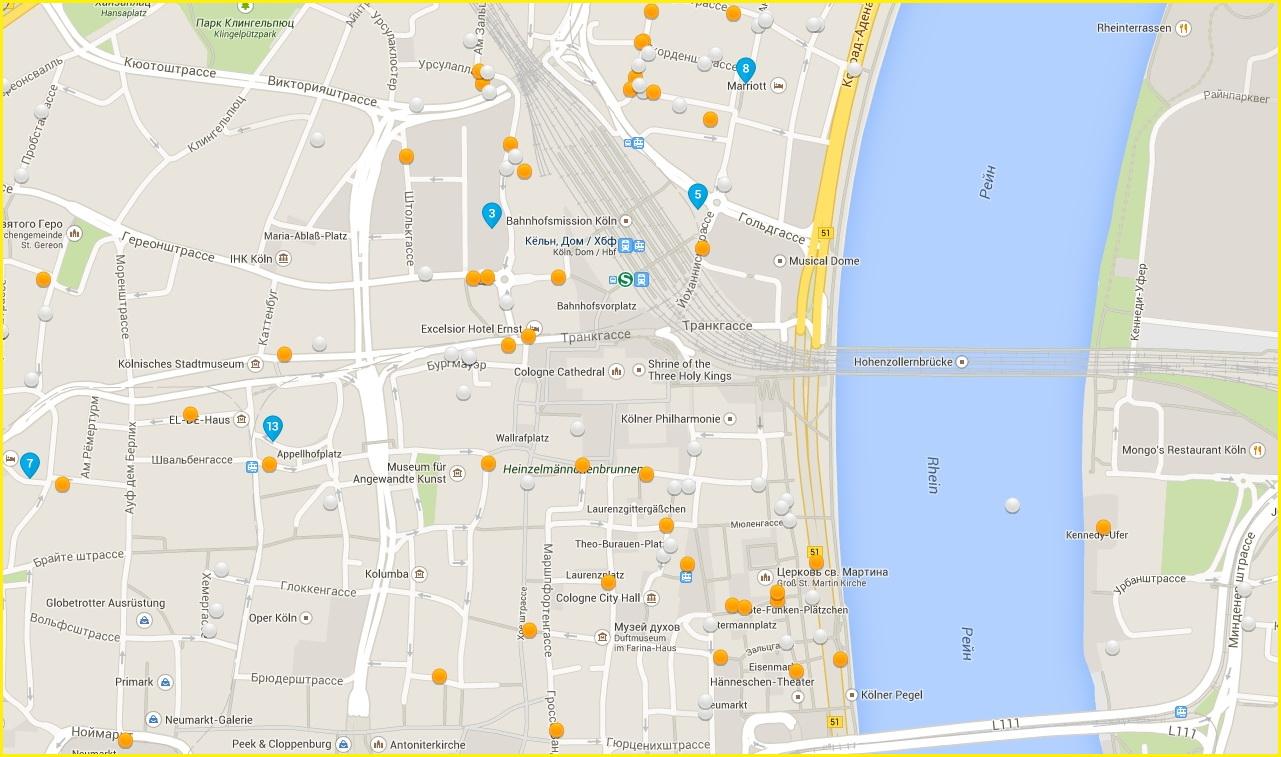 Карта гостиниц в кельнском альтштадте