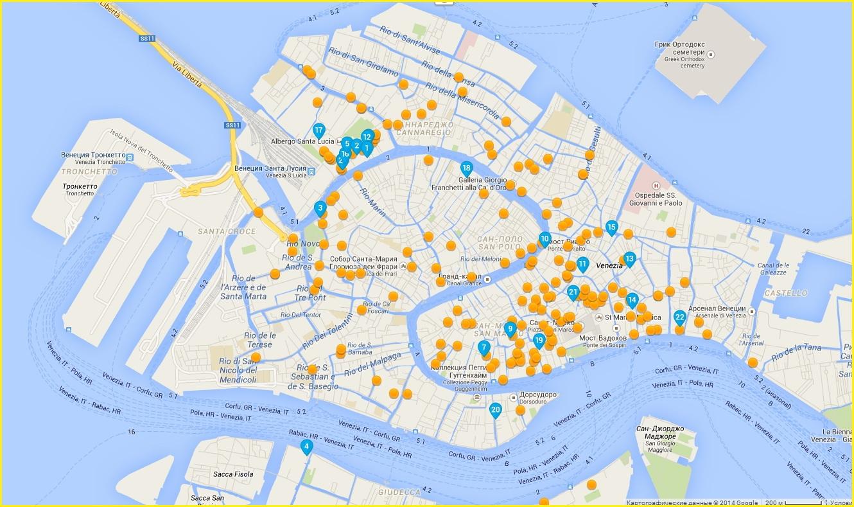 Карта гостиниц в районе Гранд-канала Венеции
