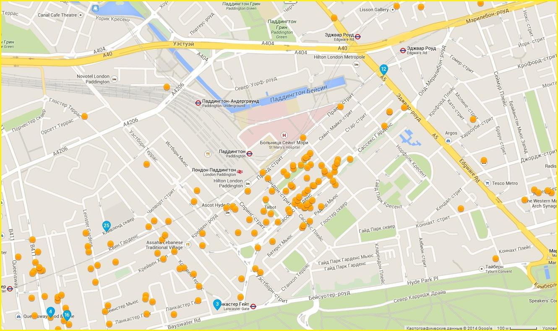 Карта лондонских гостиниц в районе жд вокзала Паддингтон