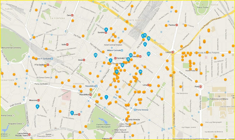 Карта миланских гостиниц в районе жд вокзала