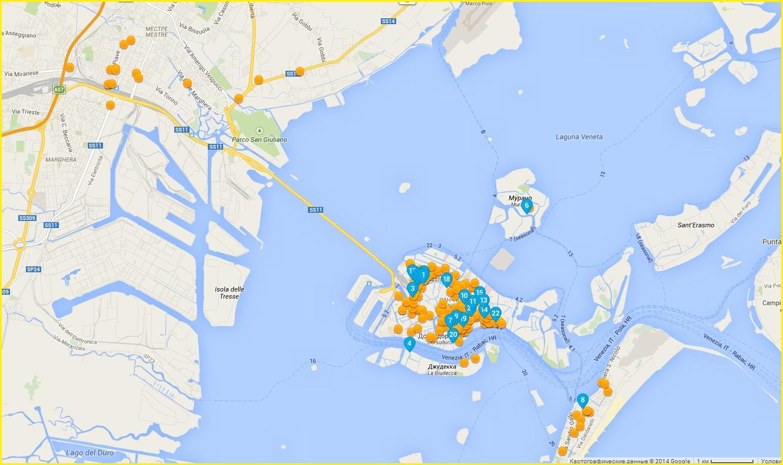 Карта отелей Венеции материковой части (Местре) и островной