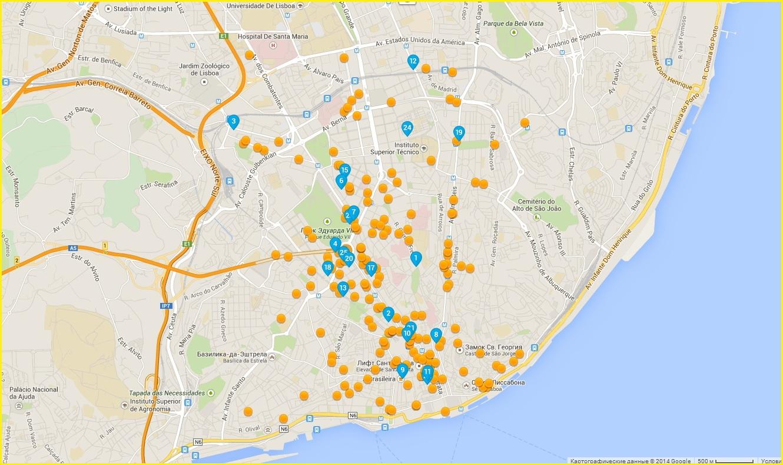 Карта отелей Лиссабона