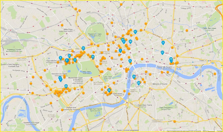Карта отелей Лондона