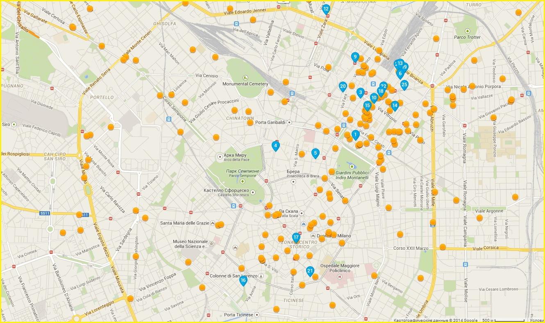 Карта отелей Милана