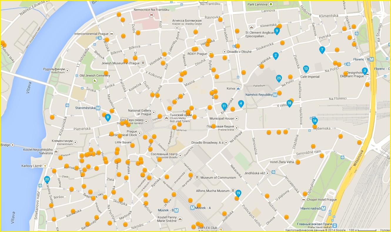 Карта отелей в Прага-1