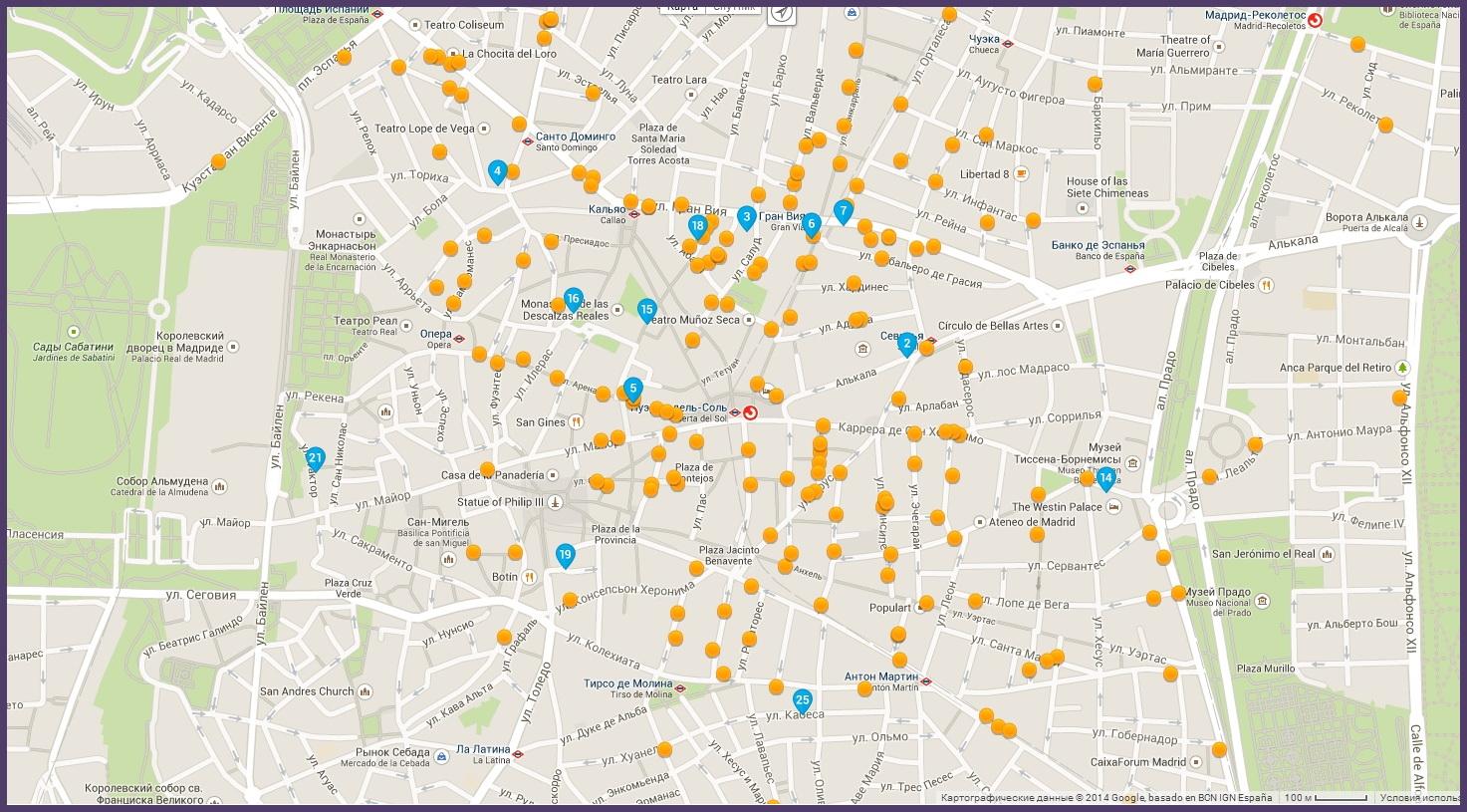 Карта отелей центра Мадрида