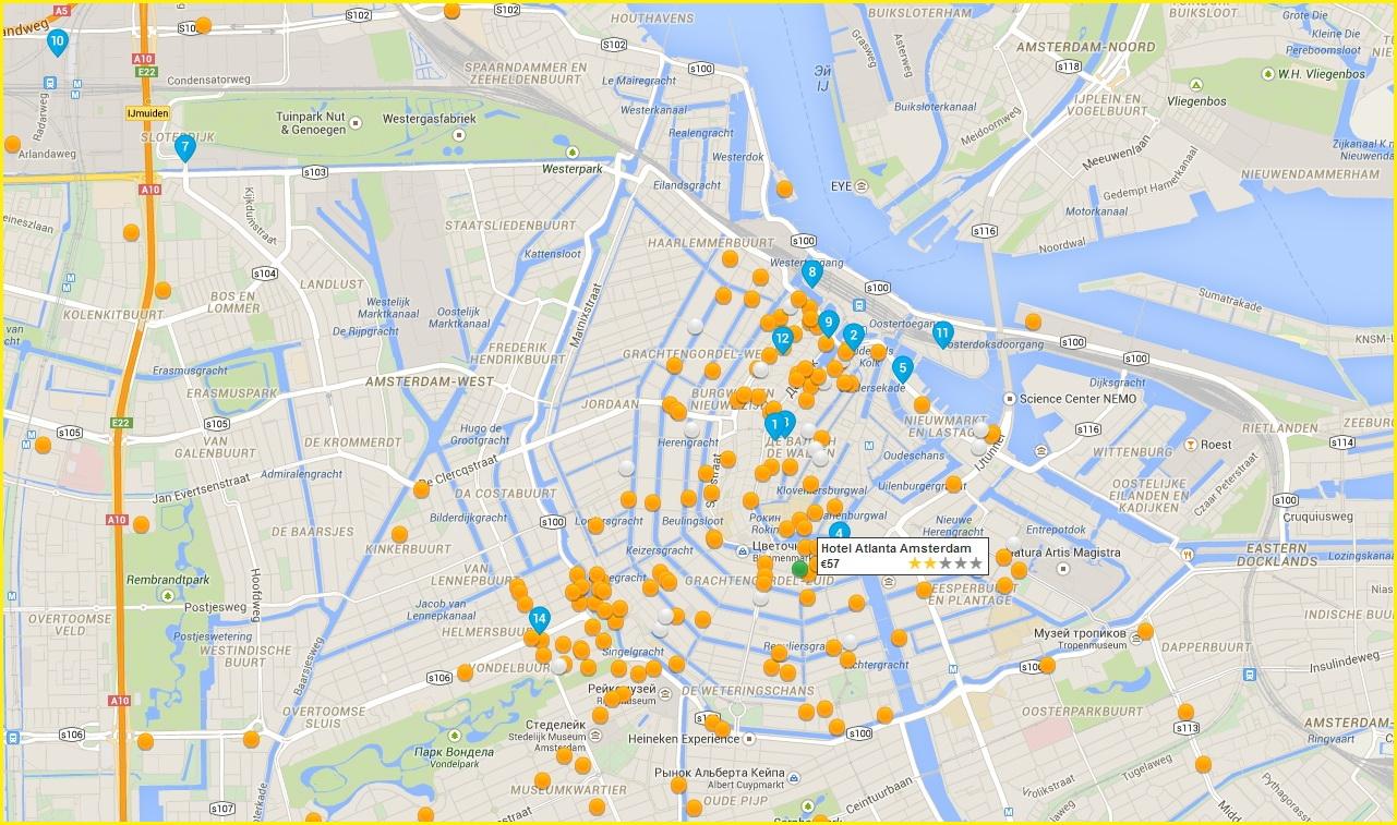 Карта расположения отелей Амстердама по районам города