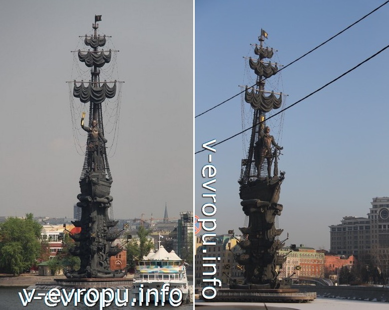 Памятник Петру-I. Слева вид с Крымского моста, справа вид с Пречистенской набережной