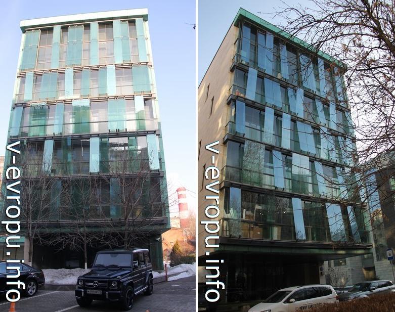 Фасады Купер Хауса. Слева со стороны Пречистинской набережной, справа со стороны Бутиковского переулка