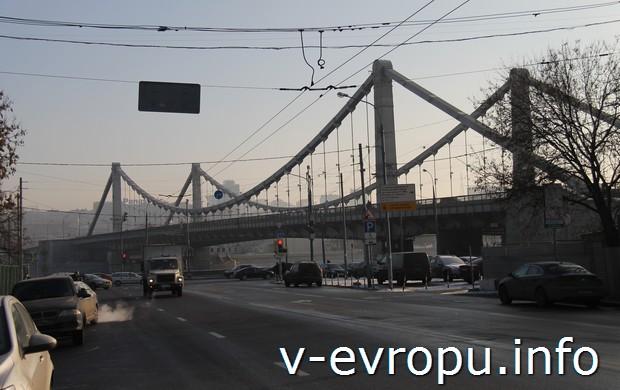 Единственный подвесной мост в Москве - Крымский