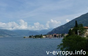 Вид с дороги вдоль озера Комо, Италия